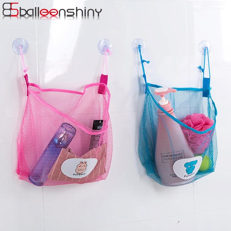 BalleenShiny Bathroom Mesh Storage Bag Wall-mounted Tile Suction Pocket Toiletries Toy Neaten Pocket Kitchen Sundries Organizer