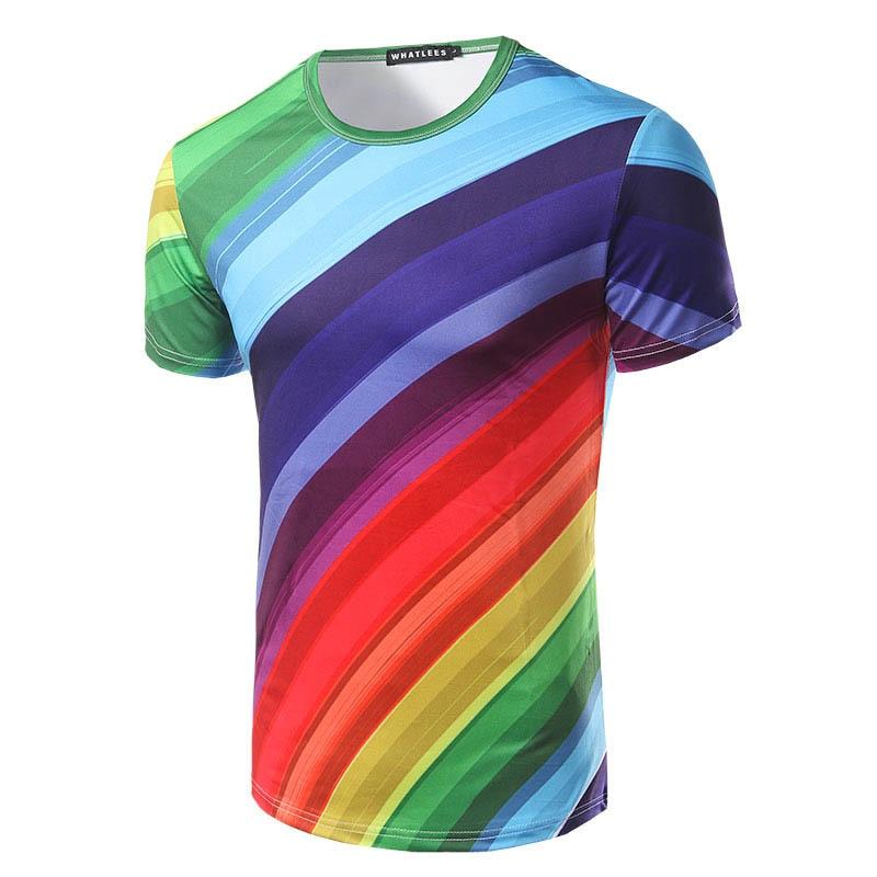 Tshirt Men Summer Rainbow Color O Neck Male Polyester Tee