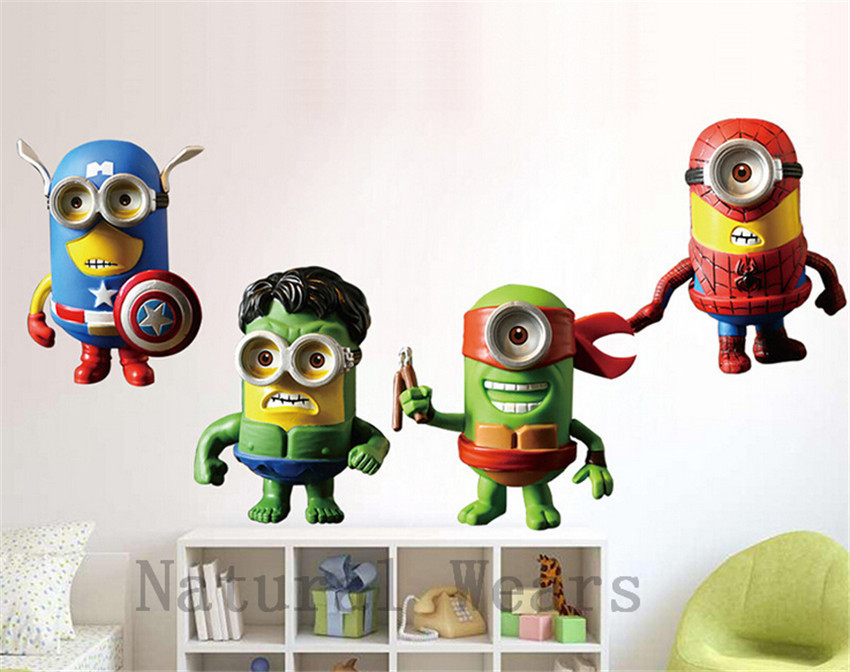 1Pcs Minion Wall Sticker Marvel The Avengers Hero Minions Fashion Comics Cartoon  Despicable Me Wallpaper Home Bedroom Decoration In Wall Stickers From Home  ... Ideas