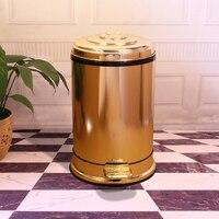 Ножная педаль цилиндрический золотой цвет мусорная корзина высокого класса Европейский стиль мусорное ведро Роскошная комната из нержаве