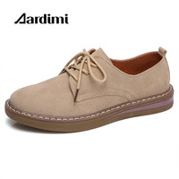 New 2017 Oxford Shoes Women Genuine Leather Designer Solid Women Flats Shoes Autumn Lace Up Cow