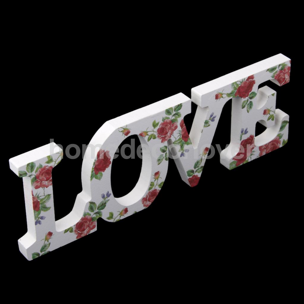 Wooden Letters Home Decor Wooden Love Letters Red Roses Pattern Wall Hanging Home