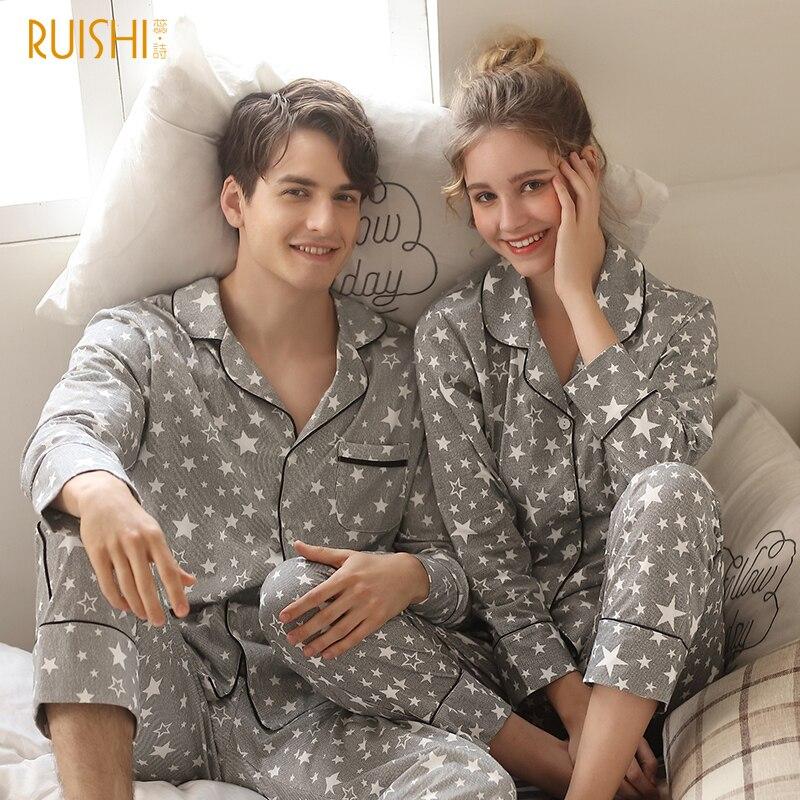 J&Q New Pajamas Men 2019 Fashion Home Clothing Men And Women Cardigan Cotton Sleepwear Lapel Stars Print Sleep Tops&Bottoms Set