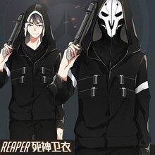 [Сток] Новинка, флисовое пальто из двух частей с принтом игры OW Reaper Death, Маскарадная маска, куртка с капюшоном, M-3XL, горячая Распродажа