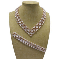16 inches Natural Lavender 5 6mm High Luster Rice Pearls Necklace and 7 inches Braided Bracelet Jewerly Set