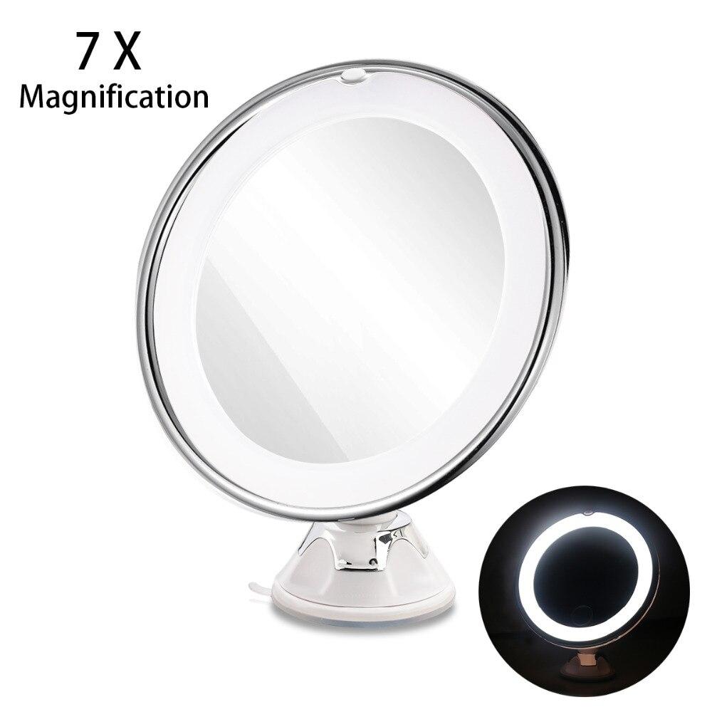 RUIMIO 7X Vergrößerungs Make-Up Spiegel Kosmetik LED-Locking Saugnapf Helle Diffuses Licht 360 Grad Rotierenden Kosmetik Make-Up