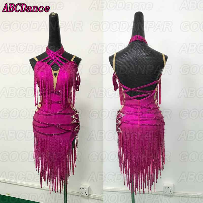 Latin Dance Dress Women Red Backless Tassels Dress For Ballroom Dancing Custom Handmade Dancewear