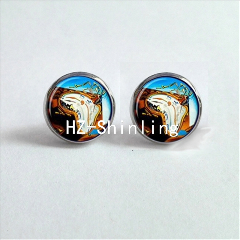 NES-00102 Salvador Dali Studs Earrings SalvadorDali Painting Ear Nail At the Moment of Explosion Earring Glass Cabochon