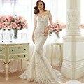 Русалка кружева винтаж свадебное платье 2016 элегантный 3/4 off-the-плечи невесты платье Vestido де Noiva свадебные платья