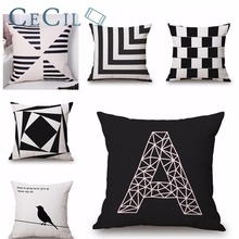 Geometry Cushion Covers Cotton Linen A-letter Irregular Square Pillow Cover Sofa Nordic Decorative Pillow Case Almofadas 45x45cm недорого