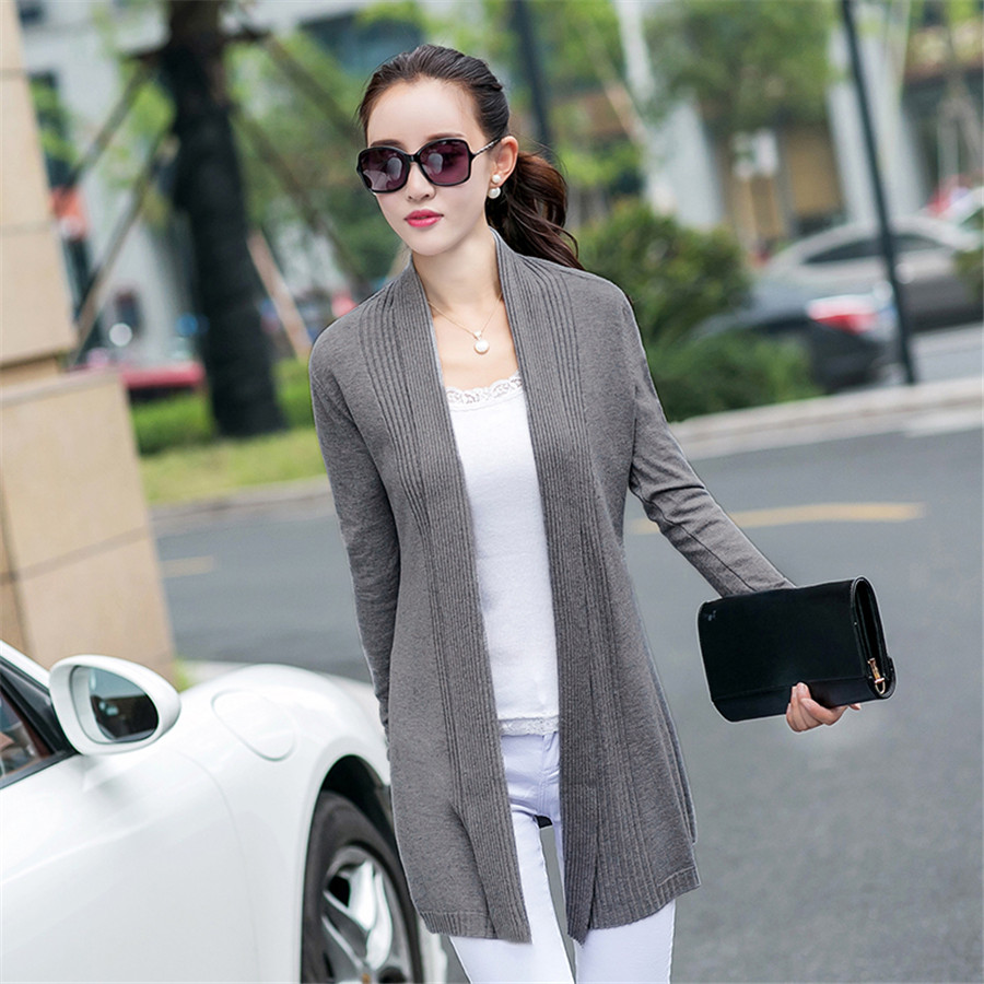 2016 New Fashion Women Long Knitted Cardigan Feminino Korean ...