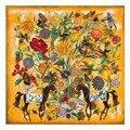 Nuevo estilo de otoño invierno moda mujer bufanda 130 cm * 130 cm bufandas de seda patrón heavy twill de seda bufanda Cuadrada caballo flor bufandas