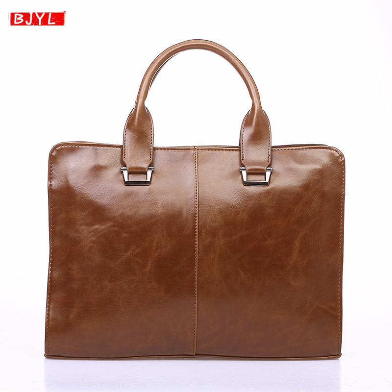 New Men Handbag Cross Section Crazy Horse Leather Shoulder Slung Bag Business Computer Briefcase Retro Tide Laptop Messenger Bag