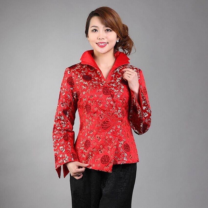 Alta calidad mujeres rojas de capa de la Chaqueta de estilo chino tradicional Ou