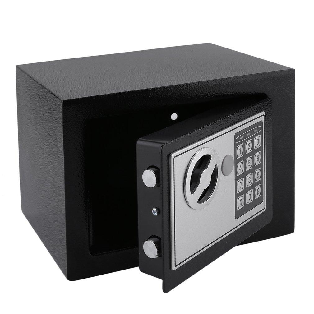 Coffre-fort électronique en acier massif avec serrure à clavier numérique 4.6L Mini mallette de rangement verrouillable pour bijoux coffre-fort