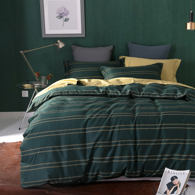 Dark Green Stripes Print Bedding Set Egyptian Cotton Fabric Queen King Size  Duvet Cover Flatsheet Pillowcase