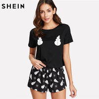 SHEIN Sleepwear Women Casual Two Piece Set Summer Black Short Sleeve Snowman Print Tee Shirt And