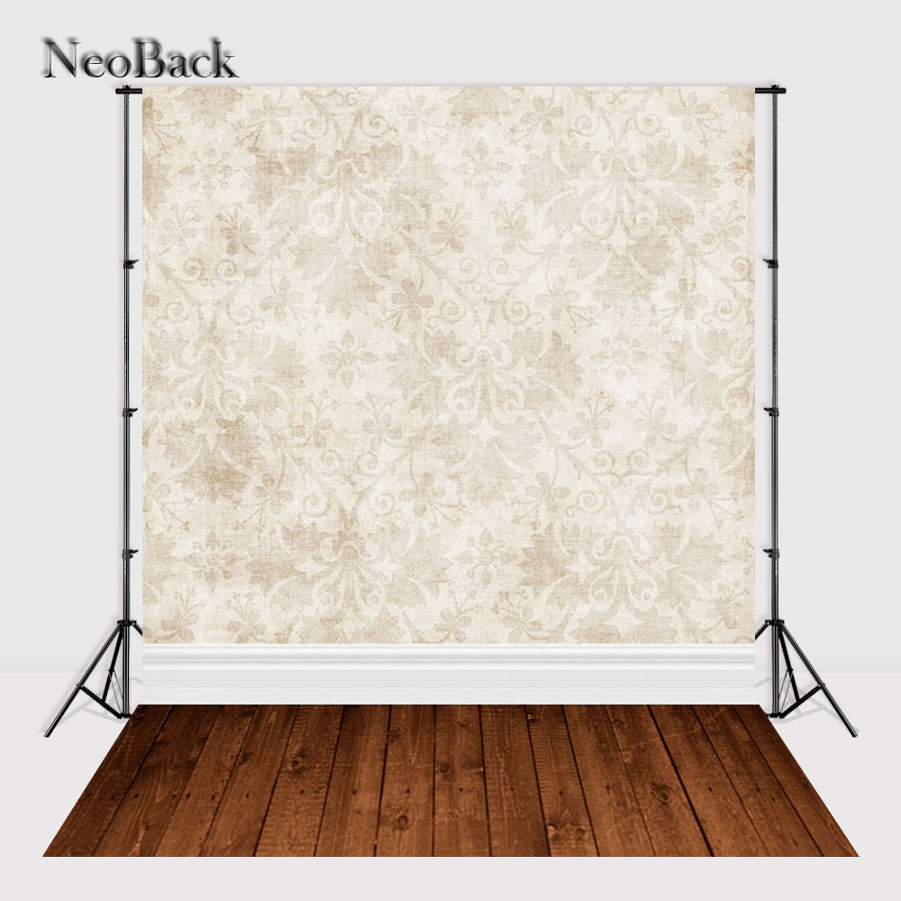 NeoBack 5x7ft Vinyl Cloth Tan Damask Patterns Brown Wood Floor Photo Backgrounds Printed Children Studio Photo Backdrops B0664