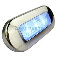LED Oblong Courtesy Light 3 SMD 12V Blue Polished Stainless RV Boat Marine