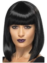 Black Bob Wigs Female Short Straight Hair Wigs With Blunt Bangs Heat Resistant Natural Synthetic Cosplay Wigs For Black Women