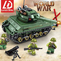 Military Sherman M4 Tank Building Blocks Constructor LegoINGly WW2 Weapon Toys for Children