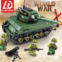 Military Tank Building Blocks Sherman M4 Tank Constructor LegoINGly Ww2 Figures Toys for Children(China)