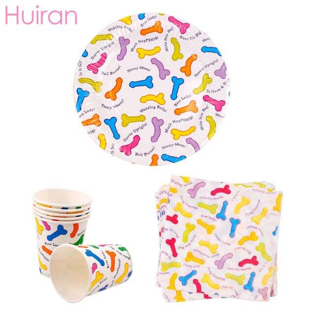 Huiran Penis Pattern Tableware Bachelorette Party Decor Hen Bachelorette Party Supplies Hen Night Accessory Bridal Shower