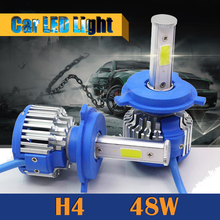 H4 48W 5200LM White LED Bulb Hi/Lo Beam 1 Pair Car Replacement Headlight Fog Light Daytime Running Lamp DRL