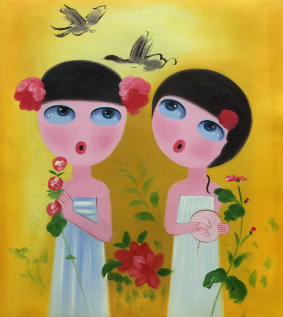 Hand Painted Modern Abstract Cartoon Canvas Painting Lovely Girl Oil ...