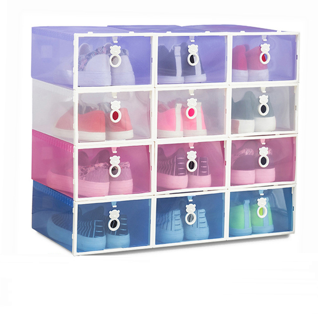 Leewince Clear Plastic Shoe Storage Transparent Boxes Container For Shoes  Closet Organization Smart Storage Containers Foldable