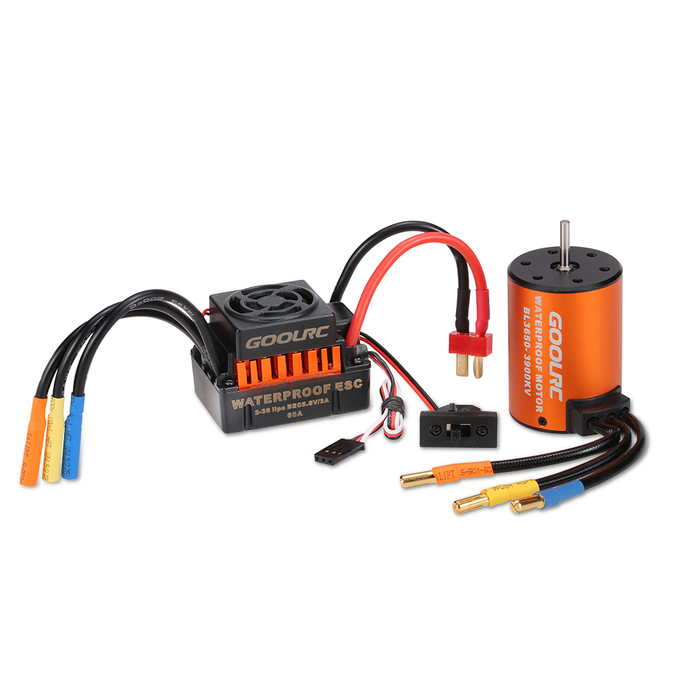GoolRC Upgrade Waterproof 3650 3900KV RC Brushless Motor with 60A ESC Combo Set for 1/10 RC Car Truck Motor kit-in Parts & Accessories from Toys & Hobbies    1