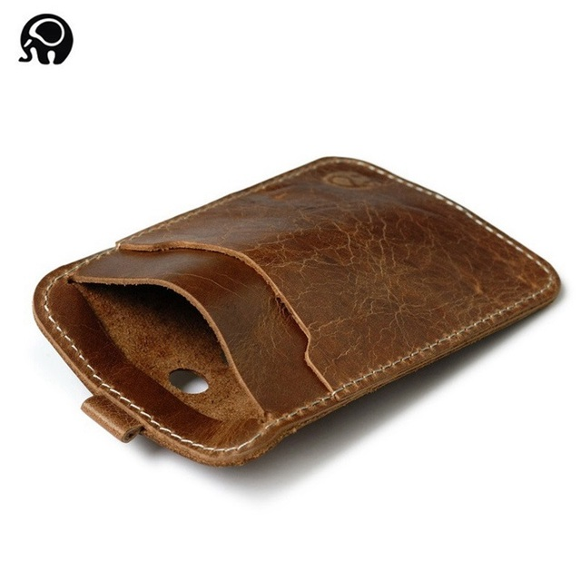 pretty nice dccc4 ebb3a US $2.99 40% OFF|Wholesale Vintage Leather Card Wallet Men Credit Card Case  Small Card Pack Business Bank Card Holder Thin Convenient Cash Pocket-in ...