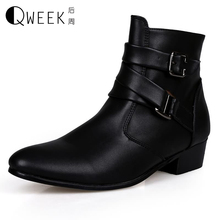 QWEEK Men Boots Genuine Leather High Top Shoes Flats British Style Ankle Boots Boots Men Shoes Male Pointed Toe Brand New Boots