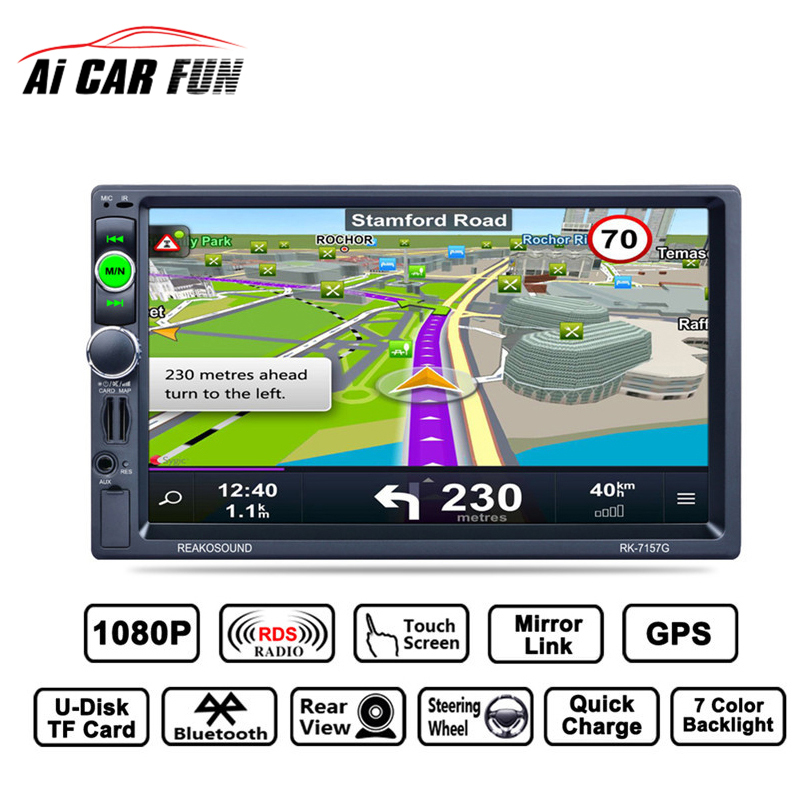 RK-7157G 7inch 2DIN Car MP5 FM/AM/RDS Radio Tuner Bluetooth Media Player GPS navigation Rear View Camera Function 7 hd 2din car stereo bluetooth mp5 player gps navigation support tf usb aux fm radio rearview camera fm radio usb tf aux