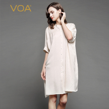 VOA Summer new beige color stand collar blouse women half Sleeve Silk Jacquard fabric loose cardigan top B7097 female