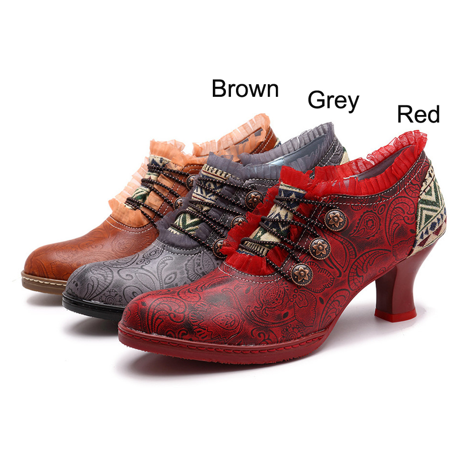 Wine Glasses Women Pumps European Vintage Hand Genuine Leather Shoes Embossed Stitching Spanish Style Four Seasons Women's Shoes (9)