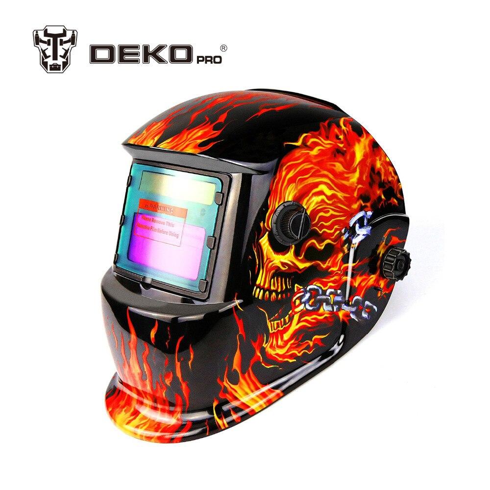 DEKOPRO Skull Solar auto darkening MIG MMA electric welding mask/helmet/welder cap/welding lens for welding machine