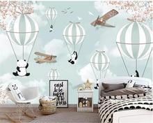 Купить с кэшбэком Beibehang Custom 3d wallpaper cartoon hot air balloon Cartoon panda wall paper sofa living room tv backdrop decorative wallpaper