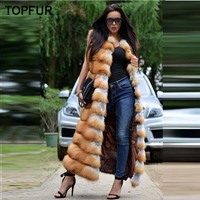 TOPFUR 2018 New Gold Fox Fur Vest Women 120 Long Soft Fox Fur Gilet Female Luxury Winter Thick Gold Fox Fur Waistcoat Puls Size