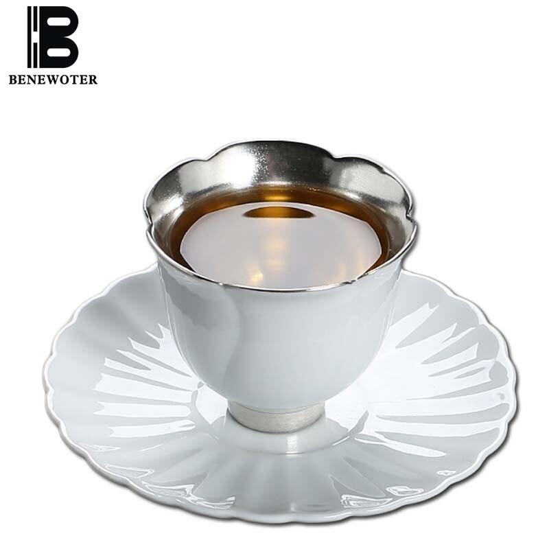 60 ml fait à la main en porcelaine blanche en métal précieux en argent pur thé de soins de santé avec plateau Kung Fu thé Set Puer noir thé tasse Kit