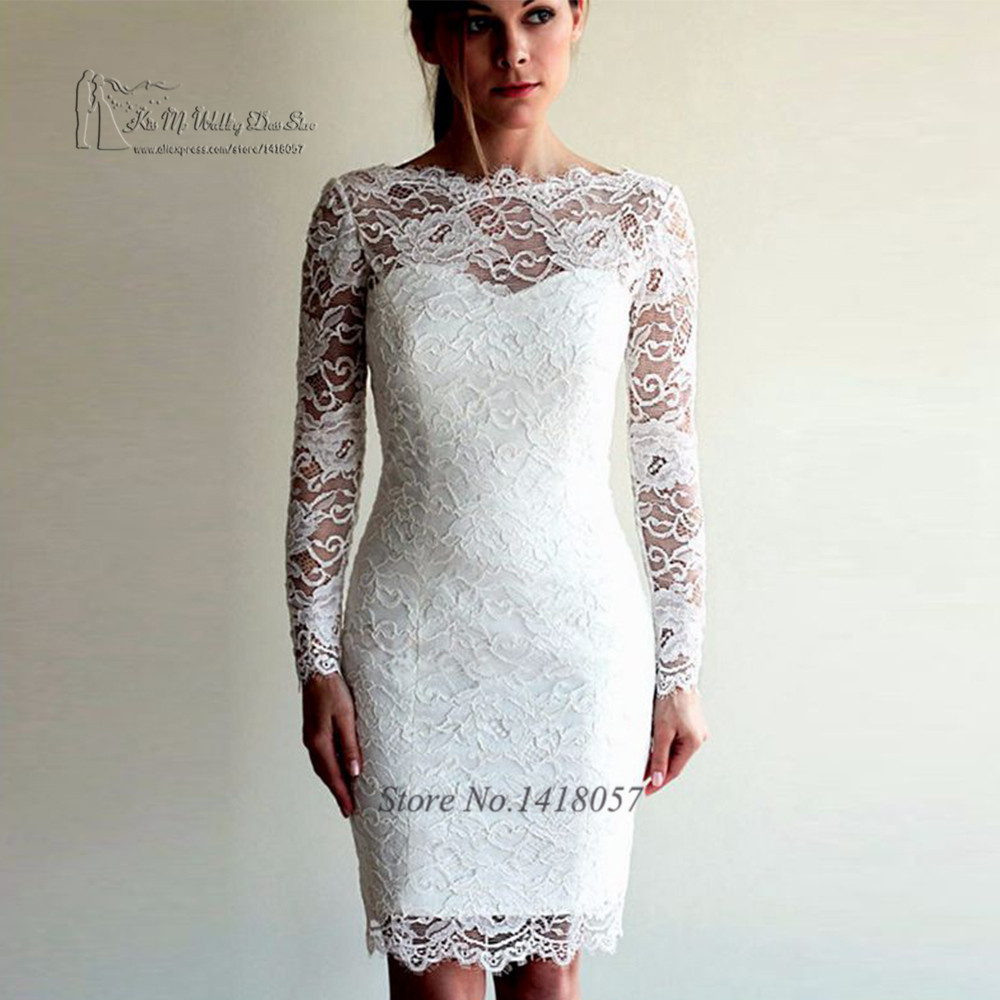 Imported China Cheap Wedding Dress Short Knee Length Bride Dresses 2017 Long Sleeve Lace Wedding Gowns