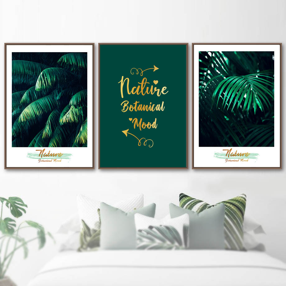 green nature botanical wood quotes wall art canvas painting nordic