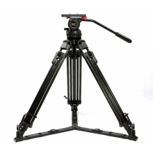 V15L Skilled Camcorder Tripod Aluminum Video Tripod w/ Fluid Head Load 15KG for Dslr Sony Gopro Digicam Tripod Stand