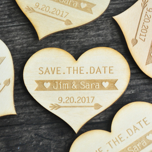 Save The Date Heart Rustic Wedding Announcement Magnet Postcard