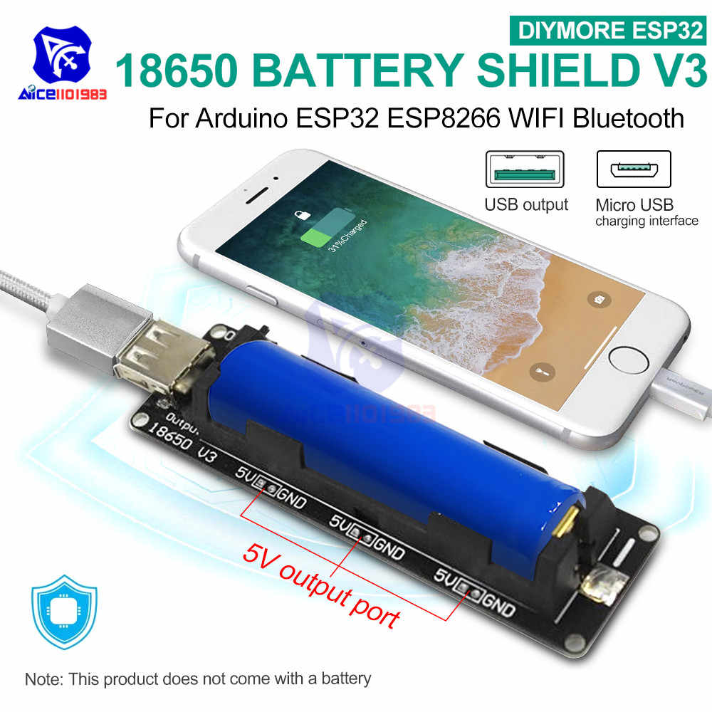 ESP32 ESP32S WeMos 18650 Battery Charge Shield Board V3 Micro USB Port Type-A USB for Arduino Raspberry Pi with Micro USB Cable