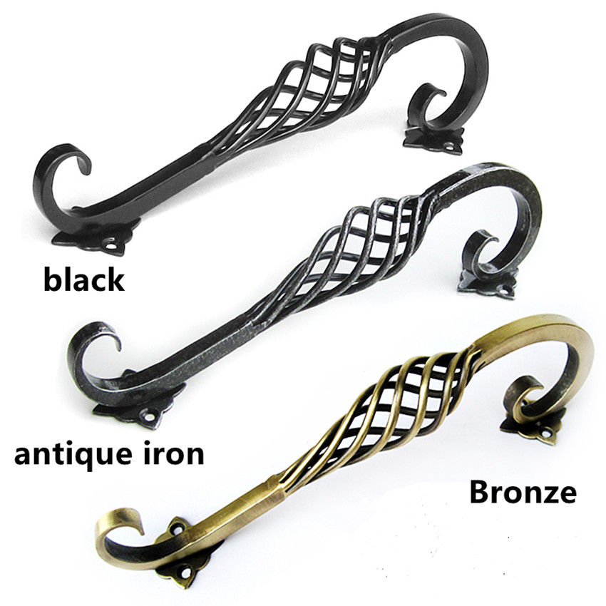 128mm 192mm vintage style bridcage door handles black bronze antique iron birdcage wardrobe cabinet dresser door handles 5 7.6