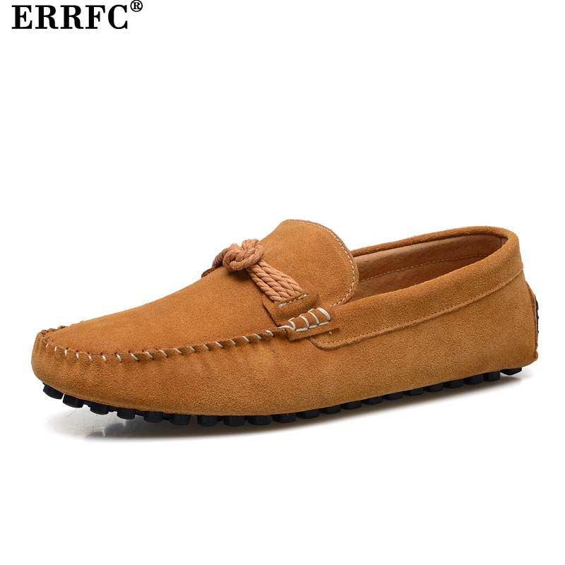 ERRFC New Arrival Men Yellow Casual Loafer Shoes Fashion Slip On Suede Nubuck Moccasin Shoes Man
