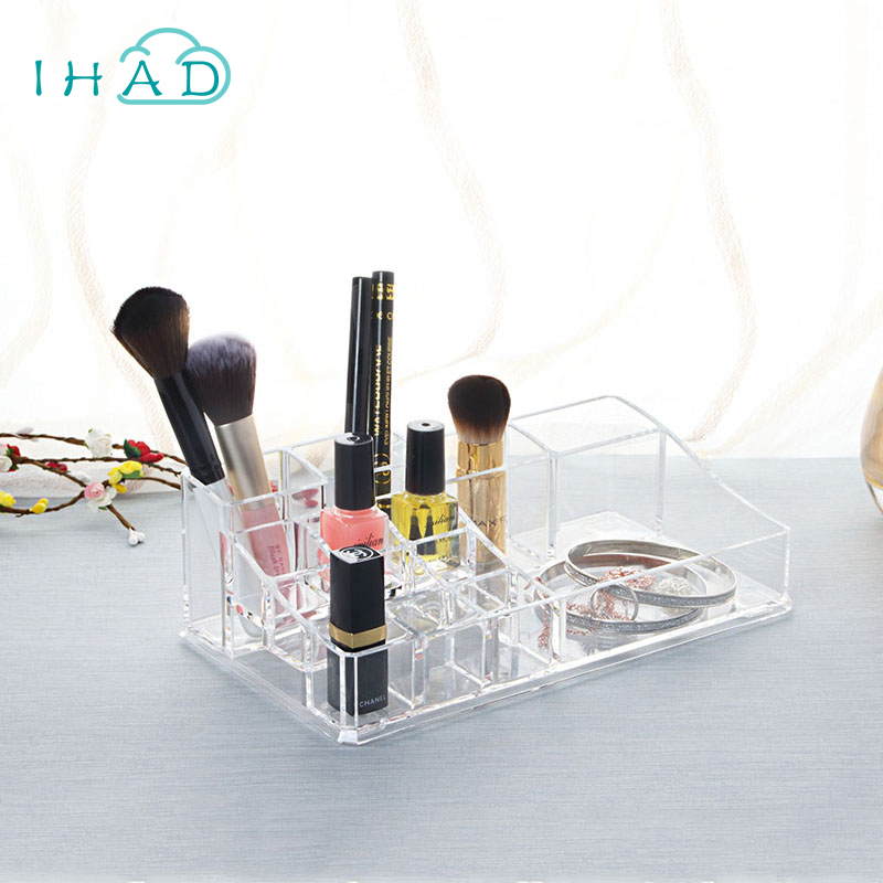 Crystal acrylic Lipstick box Cosmetic Makeup brushes Organizer box Desktop Plastic Nail Polish Cosmetic storage Holder Jewelry