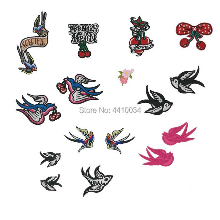 3aeeae9b6 PINK SWALLOWS TATTOO PAIR BIRD Tattoo Ink Chic Rock Punk Rockabilly iron on  patch heavy metal