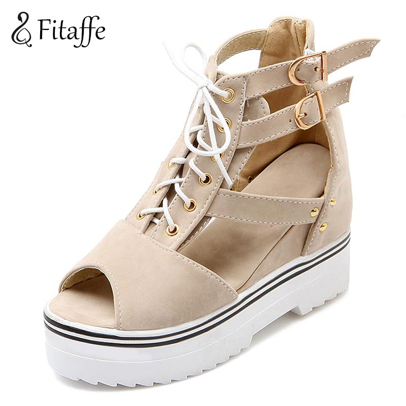 FITAFFE shoes woman Gladiator high heel woman sandals wedges lace up buckle peep toe sexy rome woman shoes plus szie 34~43 AI009
